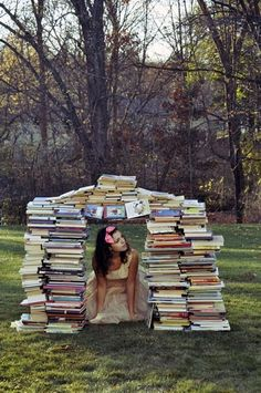 Attie builds these outdoors at Worthington Manor (Book fort)