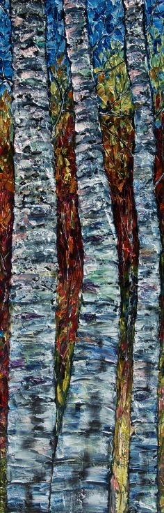 """ARTFINDER: Aspens (PALETTE KNIFE: 12"""" x 36"""") by Lena  Owens - Original, modern palette knife palette knife painting, with thick impasto oil paint layers. Title: Aspens : 36""""x12""""x0.5 Inches Materials: Artist quality oil ..."""