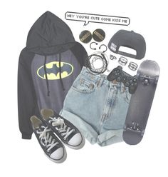 """""""Kiss me/Lazy day """" by drunk-inlove ❤ liked on Polyvore featuring Levi's, Converse, Sony and Lulu*s"""