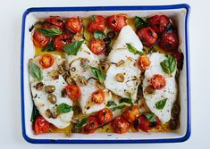 When cherry tomatoes are broiled in the oven, they burst and create their own fresh sauce.