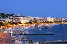 Cannes city at night, France on the beautiful Mediterranean coast