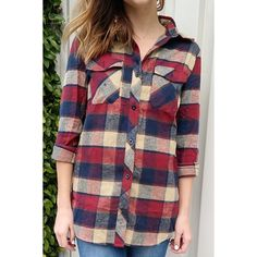 Fashioanble Women's Shirt Collar Plaid Long Sleeve Shirt — 14.42 € Size: L Color: DARK RED