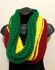 Men's Crochet Tunnel Rasta Scarf. Infinity Rasta by Africancrab, $30.00