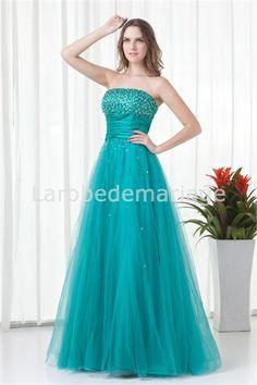 Robe de bal de promo turquoise foncé en tulle A-ligne décoration perlée