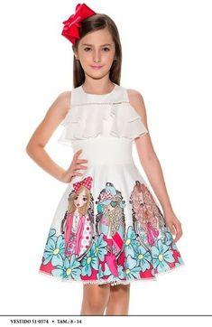 Vestido Miss Cake Moda Infanto Juvenil 510574 Cute Little Girl Dresses, Girls Casual Dresses, Dresses Kids Girl, Kids Outfits, Kids Frocks, Frocks For Girls, Simple Frocks, Lila Baby, Child Models