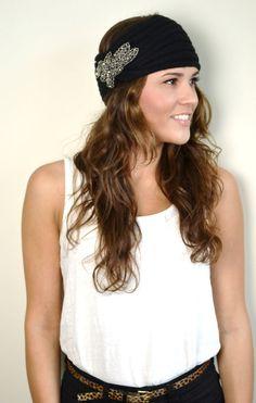 BLACK Boho Chunky Knitted Headband Ear Warmer Beaded Flower Embellishment  Turband Hair Wrap Accessory 0f0390037f76