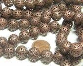 8pc 12mm Filigree Ultra Lightweight plated metal beads