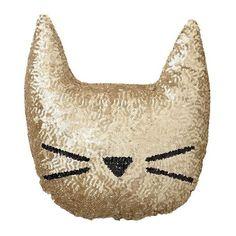 The Emily + Meritt Sequin Cat Pillow, Black at Pottery Barn Teen - Decorative Pillows - Throw Pillow