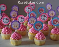 Cupcakes with Hello Kitty, Barbie, & The Little Mermaid Paper Toppers!