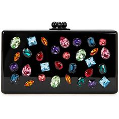 Edie Parker Jean Jewelie Swarovski crystal-embellished box clutch (31,870 MXN) ❤ liked on Polyvore featuring bags, handbags, clutches, lucite purse, hard clutch, clasp purse, hardcase clutch and multi colored handbags