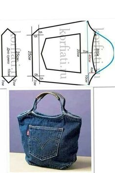 Denim Bag made from recycled jeans. Denim Bag made from recycled jeans. Jean Crafts, Denim Crafts, Tape Crafts, Upcycled Crafts, Repurposed, Sewing Tutorials, Sewing Patterns, Sewing Projects, Free Tutorials