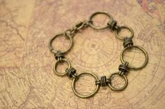 Antiqued Brass Circle Chain Bracelet by skyeshouse on Etsy, $8.00