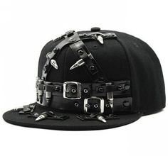 A badass hat with faux leather belts, great addition to any punk outfit   | LATICCI      Browse through our website to find badass and punk-inspired designs that empower self-expression. Find items for every occasion, and start expressing your style!