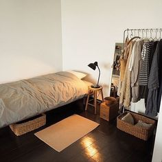 35 Brilliant Small Bedroom Decor Ideas That You Definitely Like - The biggest designing mistake while doing up your small bedroom is: over-accessorizing and crowding it with sundry and inappropriate furnishing items. Room Ideas Bedroom, Small Room Bedroom, Home Bedroom, Bedroom Decor, Bed Room, Very Small Bedroom, Small Room Interior, Bedding Decor, Bedroom Signs