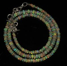 """28 Crts 1 Necklace 2to4mm 16"""" Beads Natural Ethiopian Welo Fire  Opal  63383"""