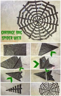 Spider web out of a black garbage bag. Halloween Decor – Not So Scary Spider web out of a black garbage bag. Halloween Decor – Not So Scary Moldes Halloween, Casa Halloween, Manualidades Halloween, Adornos Halloween, Homemade Halloween, Halloween Party Decor, Holidays Halloween, Halloween Crafts, Happy Halloween
