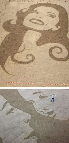 The tide waits for no man – which is why the creator of these works of art etched onto the beach has got his work cut out for him. Jamie Wardley's eye-catching artworks have adorned beaches all over the north of England and Scotland.