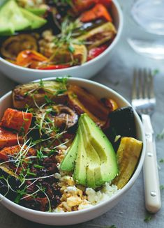 Brown Rice Salad Bowl with Roasted Veggies & Tamari Dressing | The Healthful Ideas
