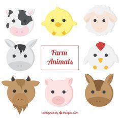 Pack of farm animals in flat design Free Vector