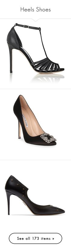 """""""Heels Shoes"""" by bnt-cool on Polyvore featuring shoes, sandals, black, black leather sandals, high heels sandals, high heel shoes, leather high heel sandals, black buckle sandals, pumps and black high heel pumps"""
