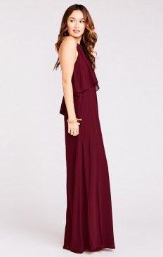 Aimee Ruffle Maxi Dress ~ Merlot Chiffon