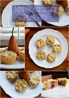Adorable mini pies are filled with a scrumptious pear and blackberry filling! Vegan and sugar free.