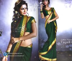 Twinkle Green Handloom Cotton Saree Collection from She'z Lemon Sarees. Mail - shezlemon@gmail.com