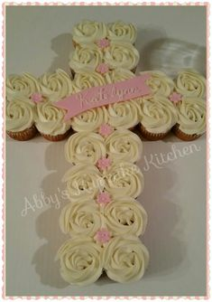 Baptism cupcake cross!