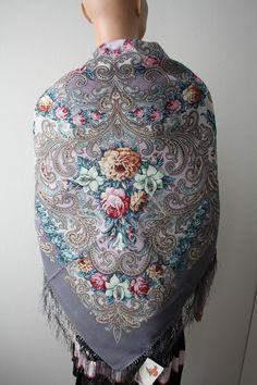Pawlow Posad/Pavlovo Posad russischer Schal-Tuch Folklore Tradition125x125 Wolle in Kleidung & Accessoires, Damen-Accessoires, Schals & Tücher | eBay
