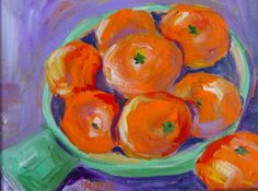 Original Painting Acrylic Oranges Still Life on gallery wrap canvas 8x10  SALE. $50.00, via Etsy.