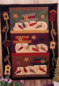 This particular tshirt quilts is honestly an amazing style technique. Primitive Quilts, Primitive Crafts, Country Primitive, Primitive Kitchen, Small Quilts, Mini Quilts, Christmas Patchwork, Christmas Applique, Snowman Quilt