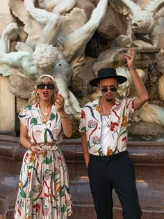 Lena Hoschek Cruise Collection Fiji Dress & Sonny Shirt Fiji // Pictures by Irina & Rares Peicu  #lenahoschek #lenahoschekcruisecollection #cruisecollection #limitededition #southseavibes #vacationmood #vacationoutfit #matchingoutfits #partnerlook #summerlook