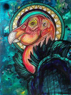 "Original ""The Condor King"" Painting by Lynnette Shelley King Painting, Painting & Drawing, Cool Art Drawings, Animal Drawings, California Condor, Peruvian Art, Cd Art, Power Animal, Madhubani Art"