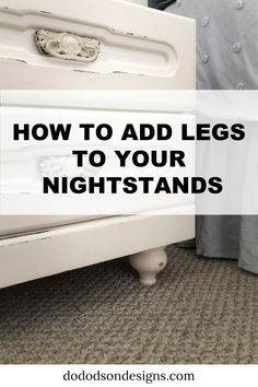 How To Add Legs To Furniture Fast And Easy It's too short! Why not add legs to furniture and bring it up to date with the current style instead of buying new? It's an easy repair and I'll show you how! Restoring Old Furniture, Furniture Repair, Furniture Legs, Find Furniture, Refurbished Furniture, Repurposed Furniture, Painted Furniture, Diy Dresser Makeover, Furniture Makeover