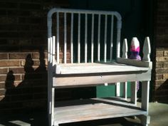 foyer/mud room bench from baby bed and picket fence
