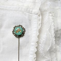 Fused Glass and Filigree Long Stick Pin in Mineral Green with Golden Flakes - Handmade