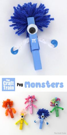 Cute peg monster craft for kids. This is a fun non-scary monster craft which is super easy to make and is a great Halloween craft for kids Cute peg monster craft for kids. This is a fun non-scary monster craft which is super easy to make … Easy Crafts For Kids, Toddler Crafts, Crafts To Do, Diy For Kids, Arts And Crafts For Kids Easy, Halloween Crafts For Kids To Make, Quick Crafts, Simple Crafts, Craft Activities For Kids
