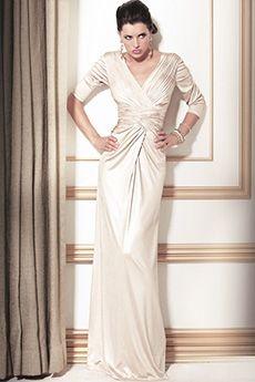 Sheath/Column V-neck Floor-length Elastic silk-like Satin Mother of the Bride Dress