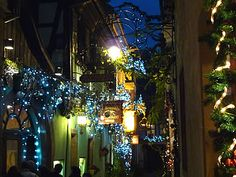 Christmas magic on the side streets of Riquewihr where you are only minutes away from the beautiful Christmas markets of the city of Colmar, France.