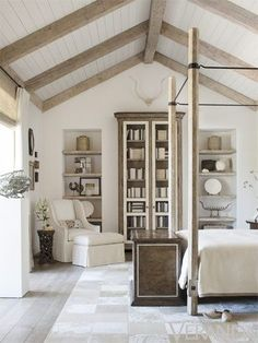 white beadboard ceiling with wood beams.thought this might be a good idea fo. white beadboard ceiling with wood beams….thought this might be a good idea for the kitchen Home Bedroom, Bedroom Decor, Bedroom Ceiling, Calm Bedroom, Tranquil Bedroom, Cathedral Ceiling Bedroom, Bedroom Ideas, Office Ceiling, Cathedral Ceilings