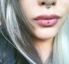 Septum Bead Ring and Vertical Lowbret Piercing