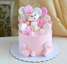 Puppy Birthday Cakes, Toddler Birthday Cakes, Baby Girl Birthday Cake, Creative Birthday Cakes, First Birthday Cakes, Bolo Drip Cake, Birthday Cake Decorating, Cake Decorating Techniques, Girl Cakes