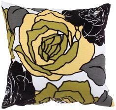 Amazon.com: Pillow Perfect Flocked Floral Decorative Square Toss Pillow, 18-Inch by 18-Inch, Yellow/Black: Home & Kitchen