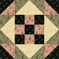 """Design a Quilt with My Free Quilt Block Patterns: 12"""" Nine Patch Stars Quilt Block Pattern"""