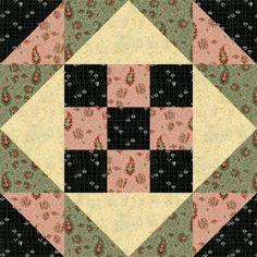 "Free Quilt Block Patterns, M through S: 12"" Nine Patch Stars Quilt Block Pattern"