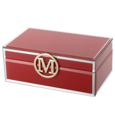 Red Personalised Glass Jewellery Box Initial M.