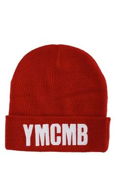 YMCMB Red Knit Fold-Over Beanie Hot Topic. $18.50