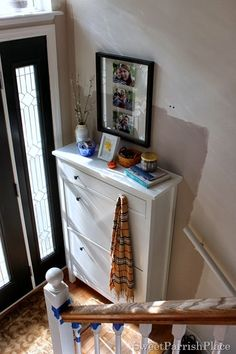 Awesome #shoe #storage for a neat appearance in the front #entry. Great for small spaces such as the split entry in this home. Furniture piece is from Ikea Hemnes Shoe Cabinet. Source> By Sweet Parrish Place.