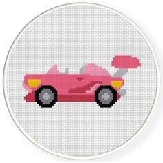 FREE Cool Pink Sports Car Cross Stitch Pattern