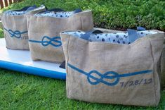 8 Eco Friendly SEMI Custom Wedding Tote Bags - Handmade from Recycled Coffee Sacks on Etsy, $128.00